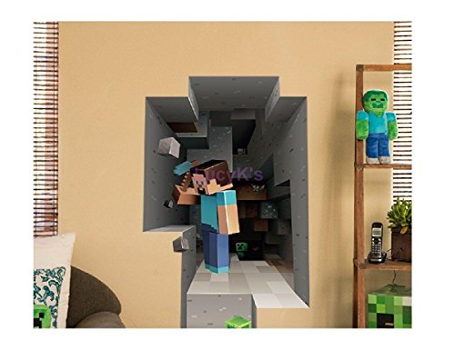 minecraft wall decal decorative 3d - digging steve - the stuff you