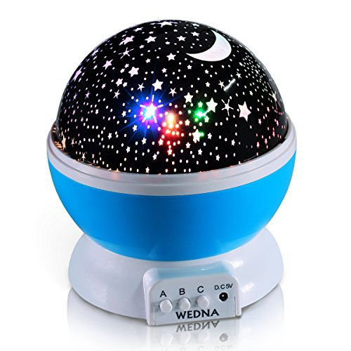 WEDNA Novelty 360 Rotating Galaxy Night Light, Romantic